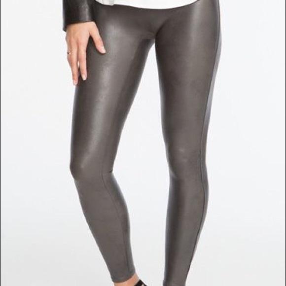 25ec71988980fc SPANX Pants | Euc Gunmetal Faux Leather Leggings Large | Poshmark